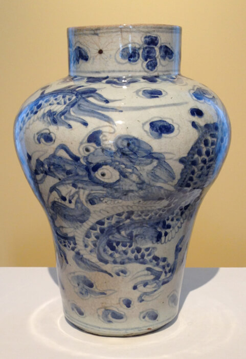 15th Century Earthernware painted blue with transparent underglaze